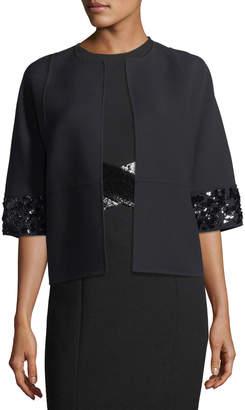 Michael Kors Open-Front Elbow-Sleeve Crepe Wool Jacket w/ Sequin Trim