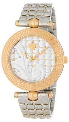 Versace Women's Vanitas Two Tone Quilted Bracelet Watch, 40mm