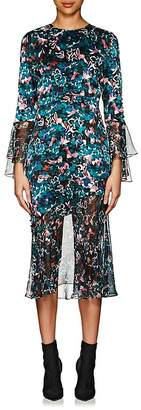 Prabal Gurung Women's Chiffon-Trimmed Floral Silk Midi-Dress