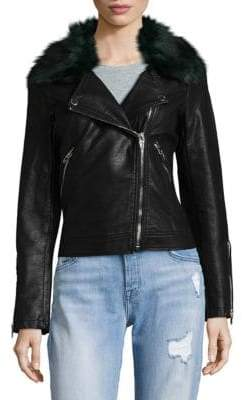Blank NYC Faux Fur Collar Moto Jacket