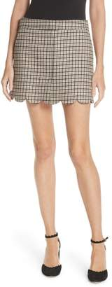 RED Valentino Plaid Scallop Hem Wool Blend Skirt