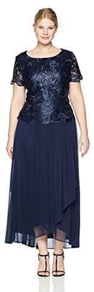 Alex Evenings Women's Plus Size Embroidered Mock Dress with Wrap Skirt