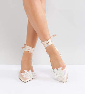 Asos Design WONDERLUST Bridal Wide Fit Embellished Mid Heels