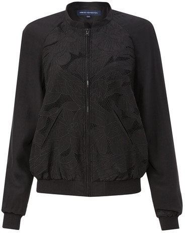 French Connection Petal Bomber Jacket Black