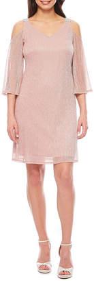 MSK Cold Shoulder 3/4 Sleeve Shift Dress