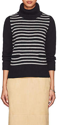 Barneys New York Women's Striped Cashmere Turtleneck Sweater - Gray