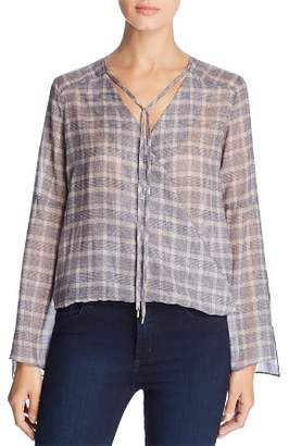 Kenneth Cole Windowpane Plaid Wrap-Front Top