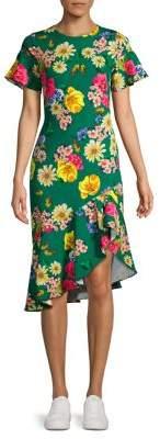 Black Halo Breelle Garden Asymmetrical Ruffle Dress