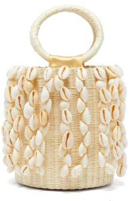 Sensi Studio - X Loulou De Saison Shell Fringed Straw Bucket Bag - Womens - Beige