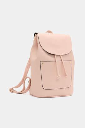 Ardene Basic Faux Leather Drawstring Backpack