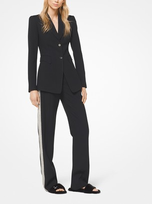 Michael Kors Crystal Embroidered Double Crepe-Sable Tuxedo Pants