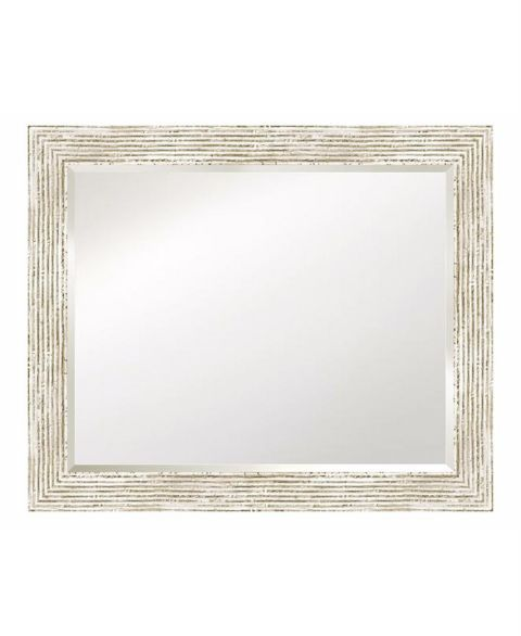 Art Select Beveled Mirror with Distressed Whitewashed Frame