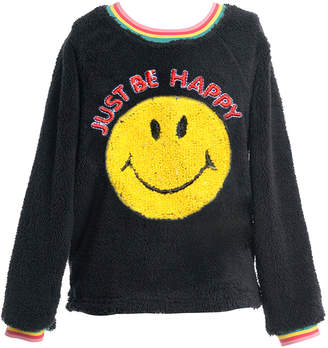 Hannah Banana Girl's Faux Sherpa Smiley Face Top, Size 7-16