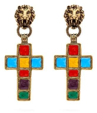 Gucci Enamelled Cross Clip On Earrings - Womens - Multi