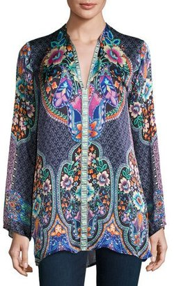 Johnny Was Houstein Printed Charmeuse Tunic, Petite $220 thestylecure.com