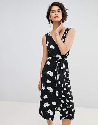 Warehouse Floating Orchid Wrap Front Cami Dress