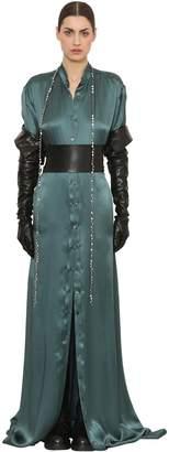 Ann Demeulemeester Silk Satin Shirt Long Dress