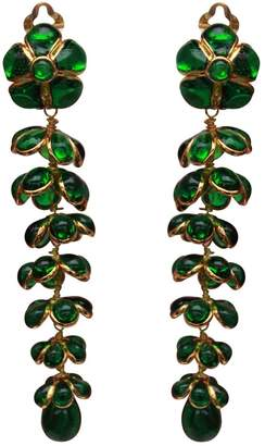 Non Signé / Unsigned Non Signe / Unsigned Motifs Floraux Green Glass Earrings