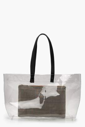 boohoo Clear Shopper & Removable Check Clutch