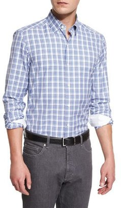 Ermenegildo Zegna Plaid Long-Sleeve Sport Shirt, Blue $395 thestylecure.com