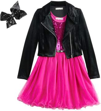 Knitworks Knit Works Girls 7-16 & Plus Size Belted Sequin Dress & Moto Jacket Set with Hair Bow