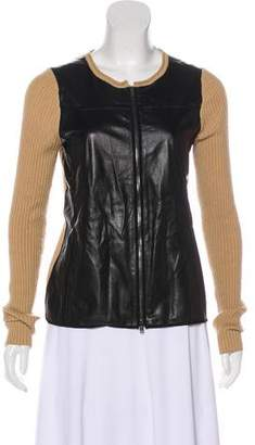 Reed Krakoff Leather-Paneled Cashmere-Blend Sweater