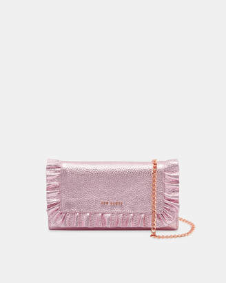 Ted Baker SOFIA Metallic leather ruffle cross body matinee purse
