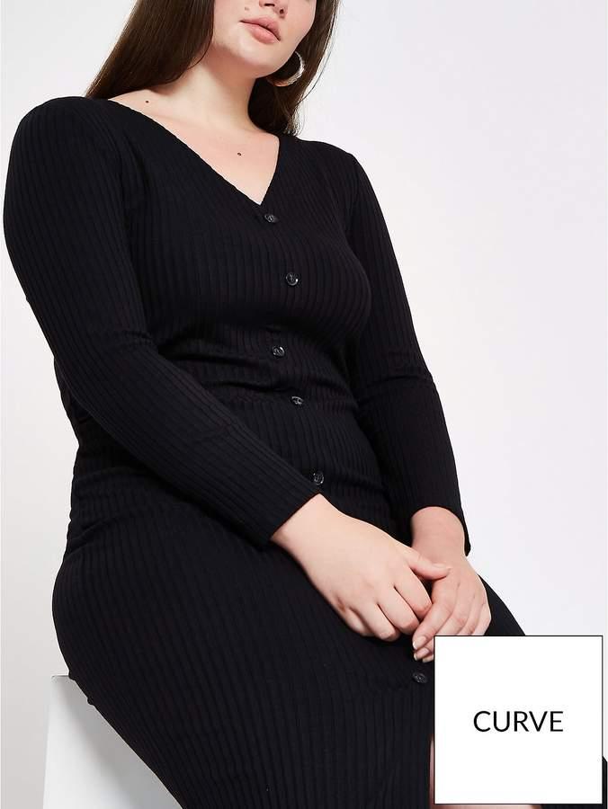 RI Plus RI Plus Button Front Ribbed Jersey Dress- Black