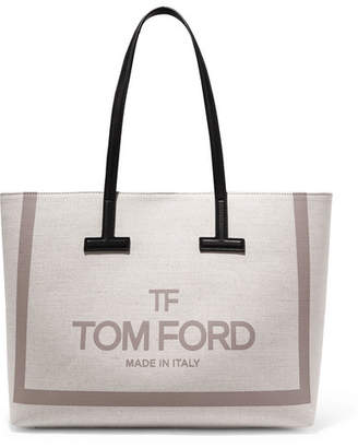 Tom Ford T Medium Leather-trimmed Printed Cotton-canvas Tote - Beige
