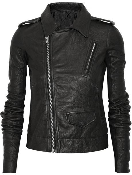 Rick Owens Stooges textured-leather biker jacket