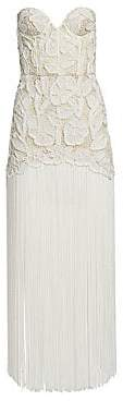 Oscar de la Renta Women's Strapless Beaded Embroidery Fringe Dress