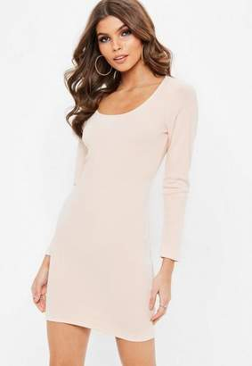 Missguided Petite Nude Ribbed Long Sleeved Dress