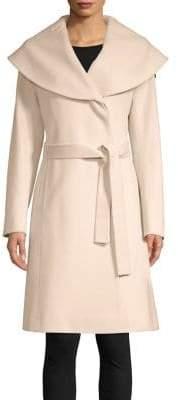 Fleurette Belted Cape-Collar Loro Piana Wool Coat