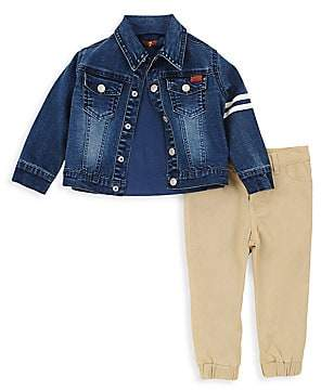 7 For All Mankind Baby's & Little Boy's Three-Piece Denim Jacket, Tee & Pants Set