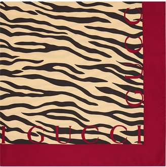Gucci Silk scarf with tiger print