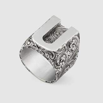 "Gucci ""U"" letter ring in silver"