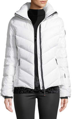 Bogner Sport Sassy Chevron Down Puffer Jacket w/ Faux-Fur Trim
