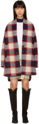 Etoile Isabel Marant Red and Navy Gabrie Check Coat