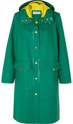 Mira Mikati Hooded Rubber Coat - Emerald
