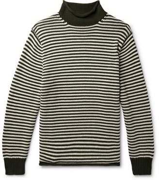 J.Crew Striped Cotton Rollneck Sweater - Forest green
