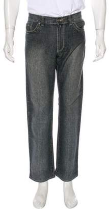 Versace Distressed Straight-Leg Jeans
