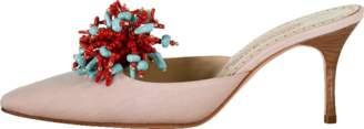 Manolo Blahnik Linen Beaded Coral Mule