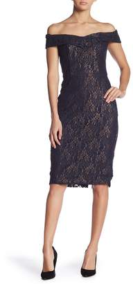 ECI Off-the-Shoulder Sweetheart Lace Dress