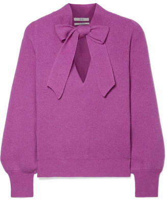 Co Pussy-bow Ribbed Cashmere Sweater - Violet