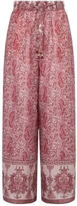Zimmermann Amari Paisley Wide-Leg Trousers