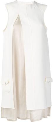 Courreges layered slit sleeveless dress