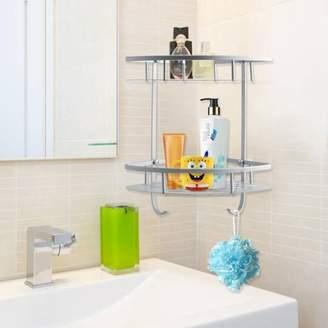 Qiilu 2 Tiers Triangular Shower Caddy Shelf Bathroom Corner Rack Storage Basket Holder