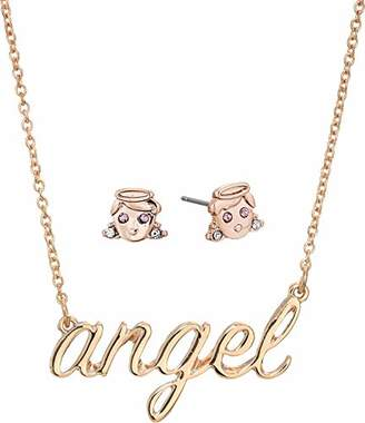 Betsey Johnson GBG) Angel Necklace and Stud Earrings Set