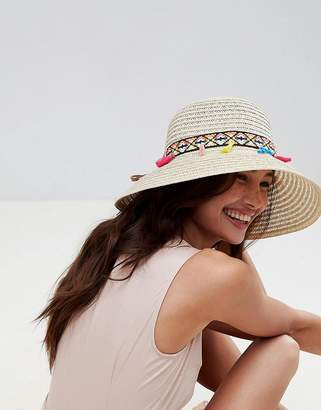 Liquorish Summer Straw Floppy Hat With Tassel Detail