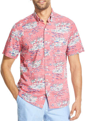 Izod Dockside Chambray Mens Short Sleeve Floral Button-Front Shirt